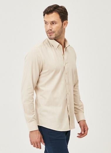 AC&Co / Altınyıldız Classics Tailored Slim Fit Dar Kesim Düğmeli Yaka %100 Koton Gömlek 4A2021200056 Bej